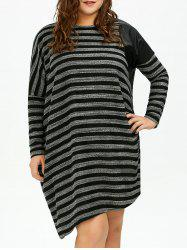 Plus Size Striped Long Sleeve Oversized Tee Dress