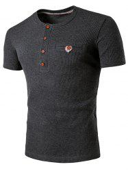 Faux Pocket T-shirt Henley -