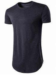 Crew Neck Side Zip Hem T-Shirt