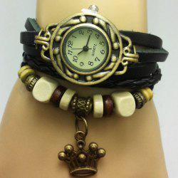Crown Braided Number Vintage Bracelet Watch