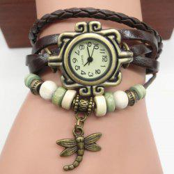 Dragonfly Braided Number Vintage Bracelet Watch - BROWN
