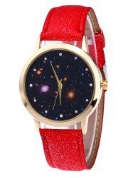 Faux Leather Strap Starry Night Watch