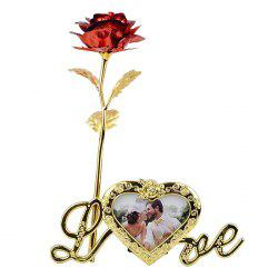 Plated Artificial Rose Flower with Photo Frame Holder - RED