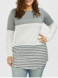 Color Block Stripe Plus Size Top