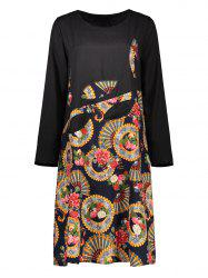 Casual Ethnic Print Long Sleeve Dress