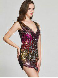 Sequin Plongeant Neck Club robe - Rose Rouge