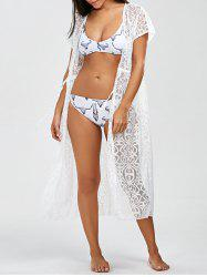 Low Cut Openwork Long Kimono Beach Cover-Up
