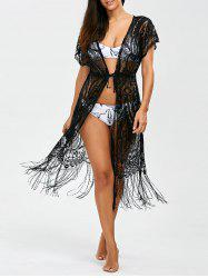 Lace Long Fringe Sheer Kimono Cover Up - BLACK