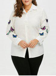 Plus Size Butterfly Embroidered Button Up Casual Shirt