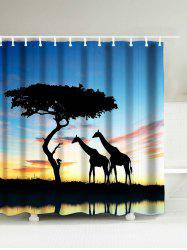 Giraffe Imprimer Waterpoof Afro Rideau de douche - Multicolore