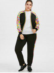 Plus Size Floral Zipper Jacket With Joggers