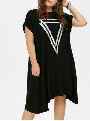 Plus Size Graphic Shift Midi T-Shirt Dress