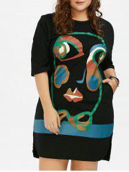 Plus Size Abstract Face Print T-Shirt Dress