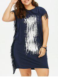 Plus Size Printed T-Shirt Baggy Dress with Fringe
