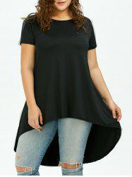 Long Plus Size High Low T-Shirt - BLACK