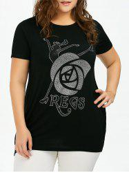 Plus Size Sequined Rose Pattern Tunic T-Shirt