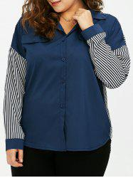 Plus Size Stripe Panel Button High Low Shirt