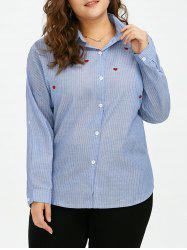 Plus Size Heart Embroidered Stripe Formal Shirt
