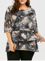 Plus Size Butterfly Ink Painting Layered Chiffon Blouse