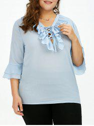 Plus Size Bell Sleeve Ruffle Blouse