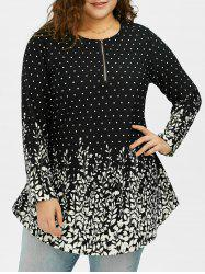 Plus Size Long Sleeve Dot Printed Asymmetric Top
