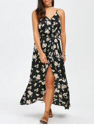 Long Floral Slip Boho Wrap Swing Dress - BLACK