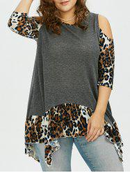 Leopard Trim Long Asymmetrical Cold Shoulder T-Shirt