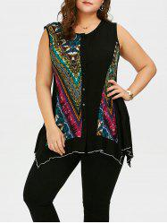 Plus Size Button Up Sleeveless Asymmetrical T-Shirt