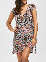 Tie Side Wrap Print Dressy Tunic Cover Up