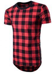 Plaid Side Zips Hem T-Shirt -