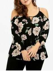 Plus Size Keyhole Floral Cold Shoulder Blouse - BLACK