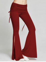 High Slit Flare Bell Bottom Yoga Pants - WINE RED XL