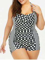 Plus Size Polka Dot Stripe Halter Boyshort Bathing Suits