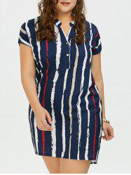 Plus Size Tie Dye Stripe Fitted Tunic Shirt Dress