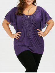 Crochet Trim Butterfly Sleeve Plus Size Top