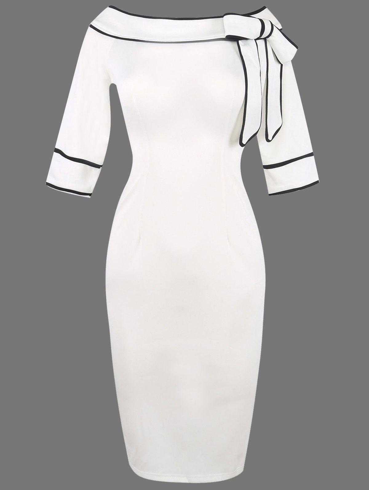 Boat Neck Bowknot Embellished Bodycon DressWOMEN<br><br>Size: 2XL; Color: WHITE; Style: Brief; Material: Polyester; Silhouette: Bodycon; Dresses Length: Knee-Length; Neckline: Slash Neck; Sleeve Length: Half Sleeves; Embellishment: Bowknot; Pattern Type: Others; With Belt: No; Season: Summer; Weight: 0.4000kg; Package Contents: 1 x Dress;