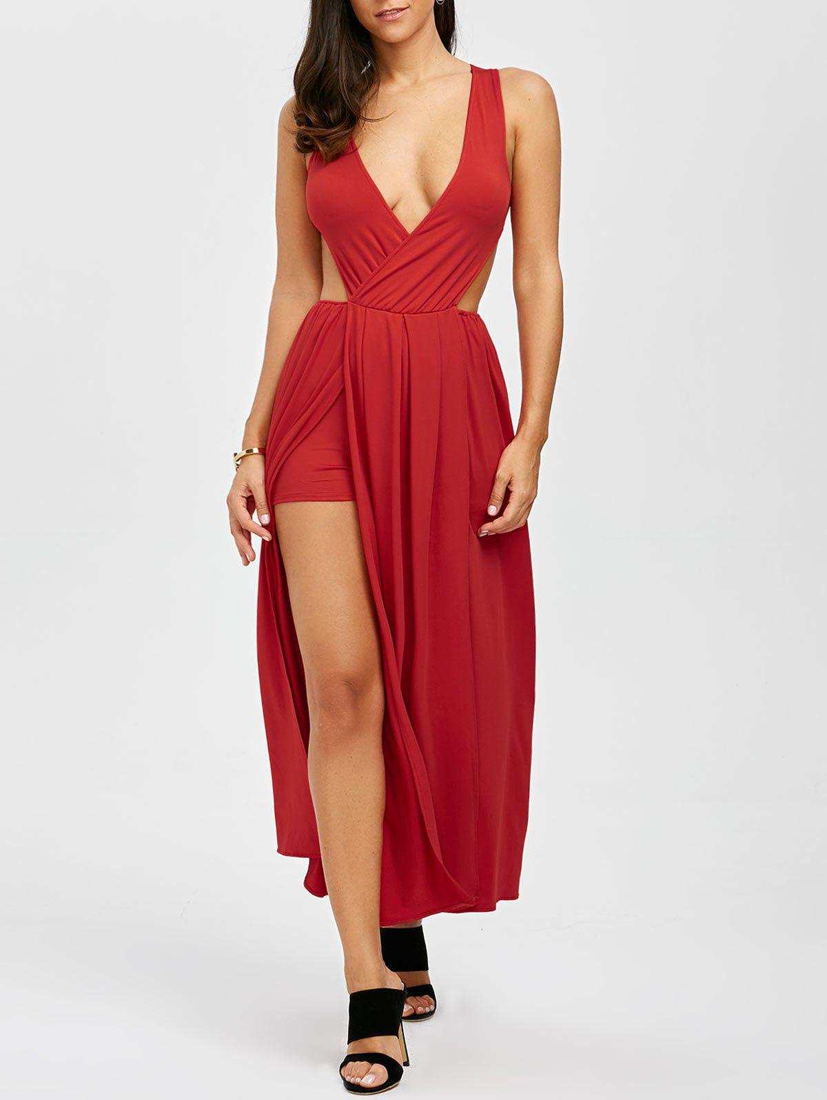 Outfits Maxi Plunge Backless Slit Cut Out Dress