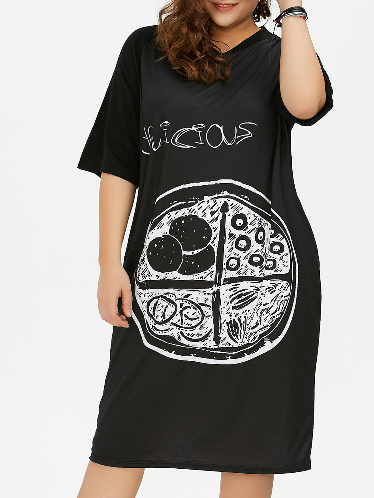 Plus Size Graffiti Baggy Graphic T-Shirt Dress