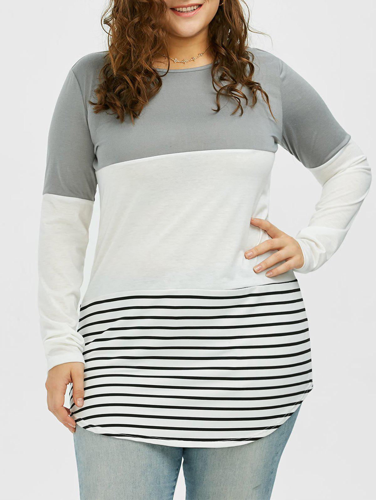 Color Block Stripe Plus Size TopWOMEN<br><br>Size: 5XL; Color: GRAY; Material: Polyester; Shirt Length: Long; Sleeve Length: Short; Collar: Round Neck; Style: Casual; Season: Summer; Pattern Type: Striped; Weight: 0.3500kg; Package Contents: 1 x Top;