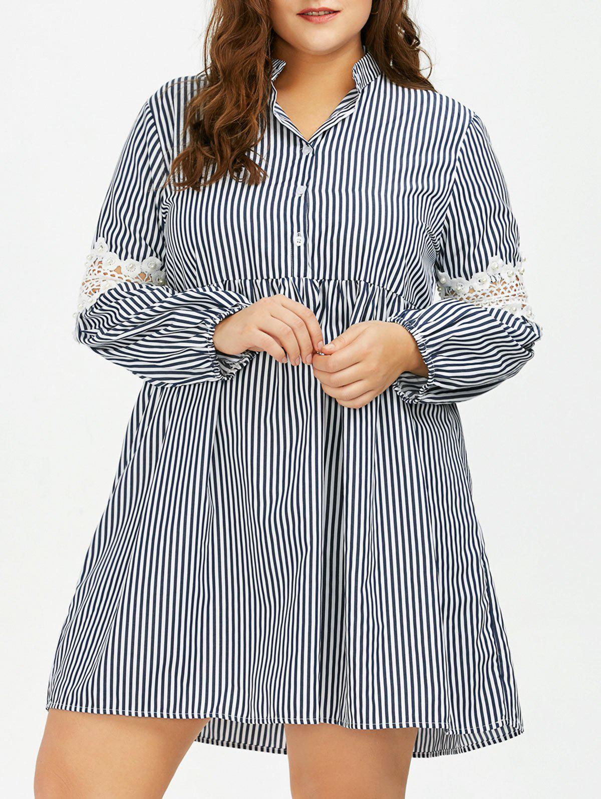 9% OFF] Long Sleeve Plus Size Striped Smock Casual Shirt Dress | Rosegal