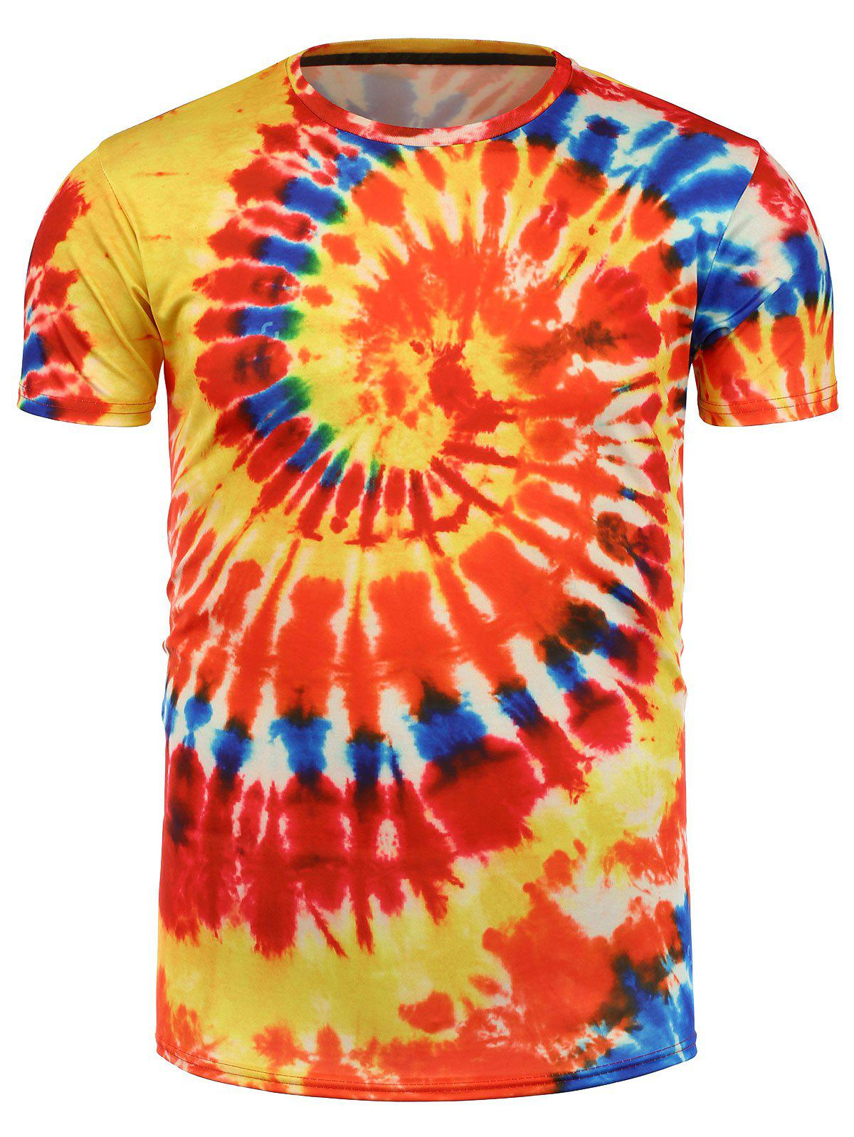Orange tie dye all over print t shirt for Tie dye printed shirts