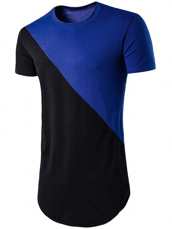 Discount Geometric Color Block Hem T-Shirt
