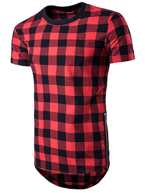 Affordable Plaid Side Zips Hem T-Shirt