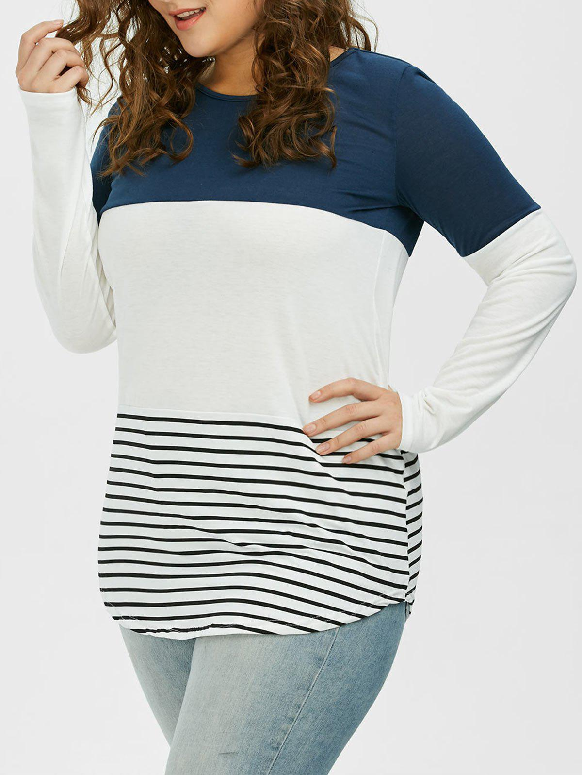 Color Block Stripe Plus Size TopWOMEN<br><br>Size: 2XL; Color: CADETBLUE; Material: Polyester; Shirt Length: Long; Sleeve Length: Short; Collar: Round Neck; Style: Casual; Season: Summer; Pattern Type: Striped; Weight: 0.3500kg; Package Contents: 1 x Top;