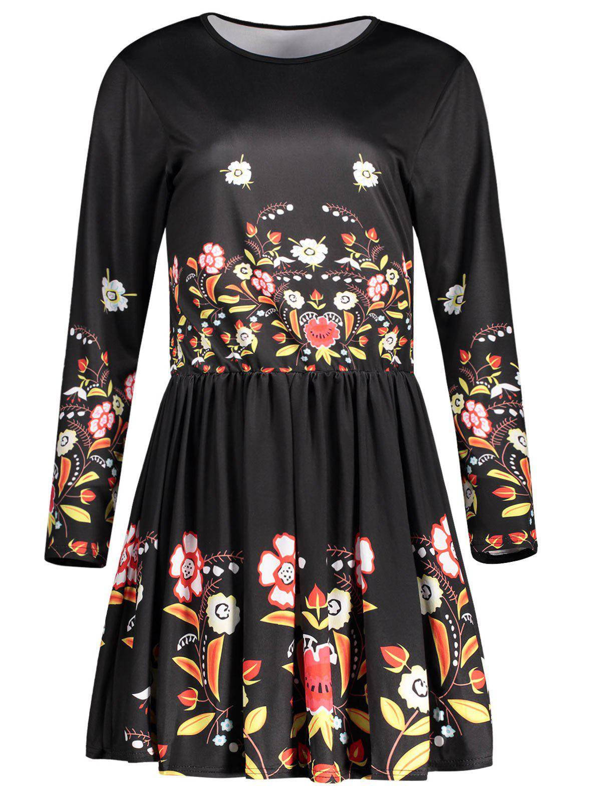 Outfits Short Floral Long Sleeve Dress