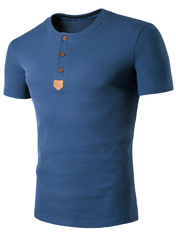 Henley T-shirt patché en cuir artificiel