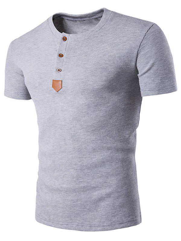Trendy Artificial Leather Patched Henley T-Shirt
