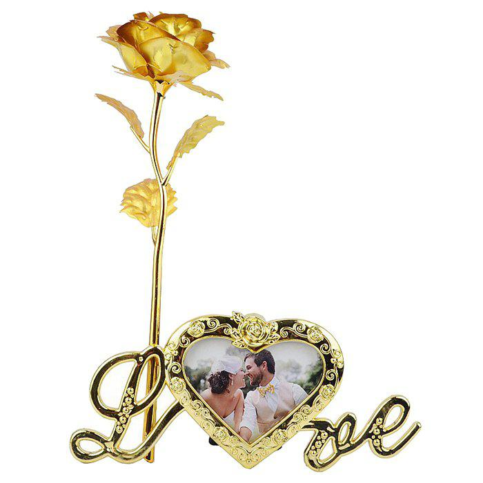 Latest Plated Artificial Rose Flower with Photo Frame Holder