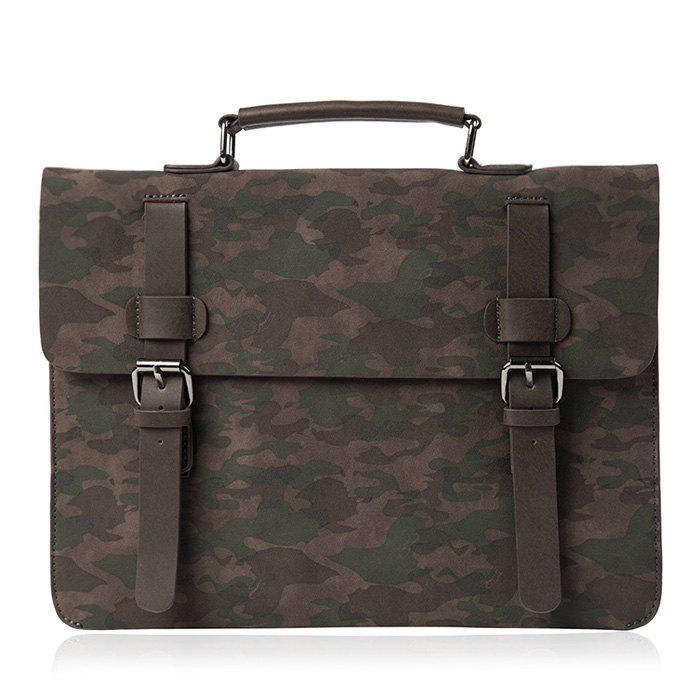 Outfit Buckle Straps Camouflage Printed Briefcase