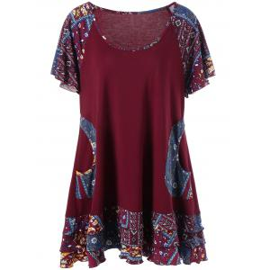 Plus Size Raglan Sleeve Layered Top with Pockets - Deep Red - 5xl
